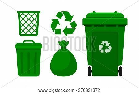 Bin, Green Bin Collection, Recycle Bin And Green Plastic Bags Waste Isolated On White
