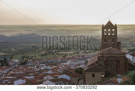 Hornachos Village Overview At Sunset. Rural Tourism In Extremadura Concept. Badajoz Province, Spain