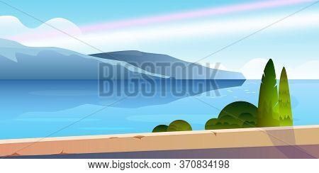 Horizontal Summer Landscape With Mountain, Sea, Cypress, Bushes, Road. Mediterranean View With Lake,