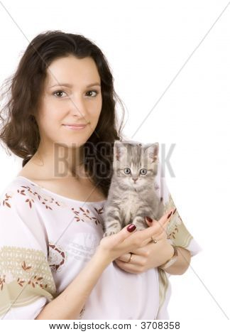 Young Women With Gray Kitten