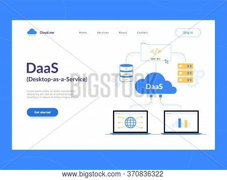 Daas: Desktop As A Service Landing Page First Screen. Virtual Desktop Or Desktop Virtualization Clou