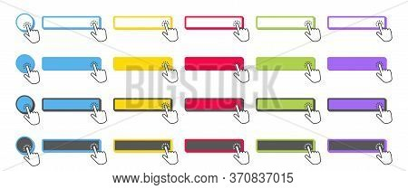 Click Button. Collection Cursor Pointer Clicking On Buttons, Pointing Hand Clicks And Color Web Ui B