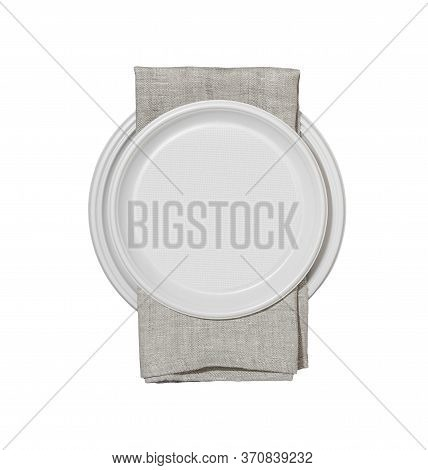 Plastic Plates And Serviette Isolated On White Background.