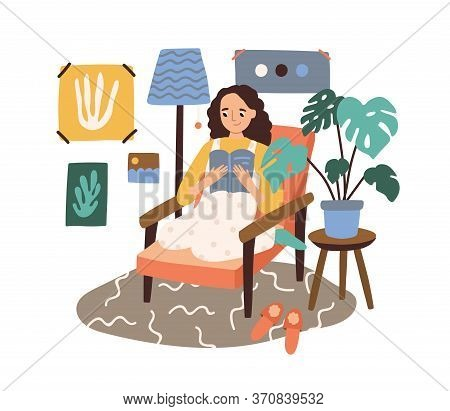 Happy Woman Reading Book Sitting In Comfy Armchair Vector Flat Illustration. Smiling Domestic Female