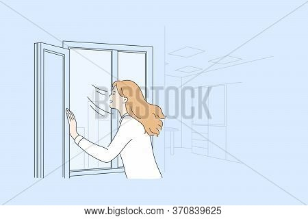 Airing, Isolation, Coronavirus, Healthcare, 2019ncov Concept. Woman Or Girl Bringing Fresh Air In Ro