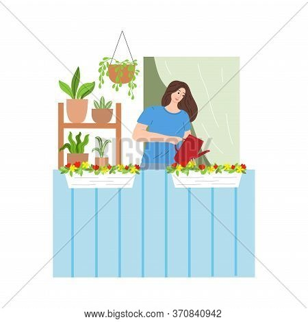 Young Woman Standing On Balcony And Watering Flowers And Plants On Cornice