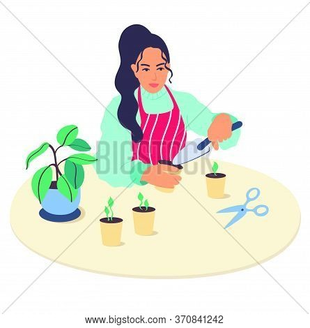A Young Girl Character Plants Plants At Home.the Woman Holds In Her Hands The Shovel The Garden,grow