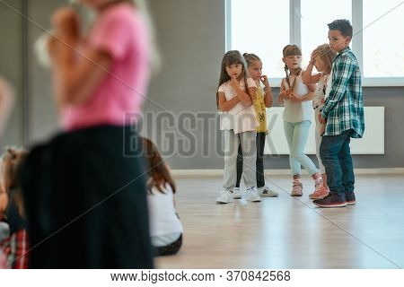 Dance Training. Group Of Children Studying Standing In The Dance Studio. Choreography Class. Hip Hop