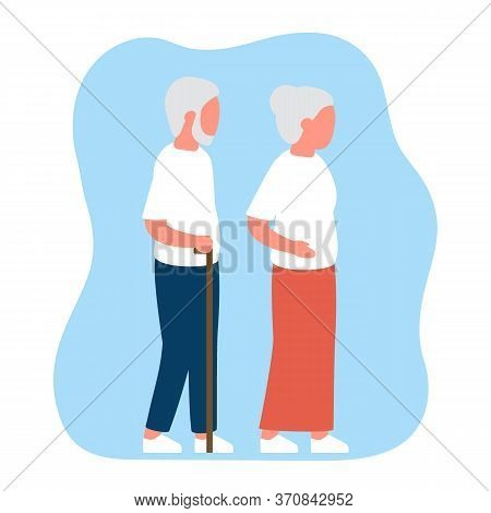 Senior Elderly People Man And Woman. Old Age Man And Woman Pair, View Profile. Vector