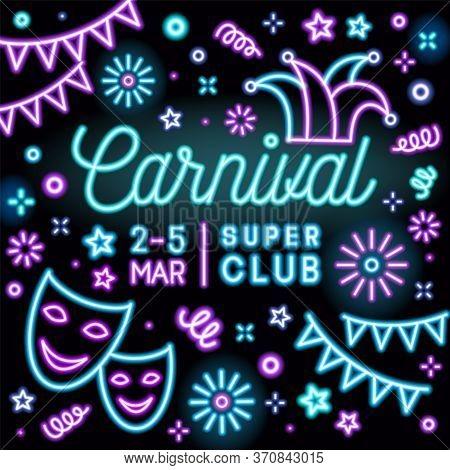 Bright Neon Carnival Party Invitation Card Vector Flat Illustration. Colorful Design Promo For Masqu