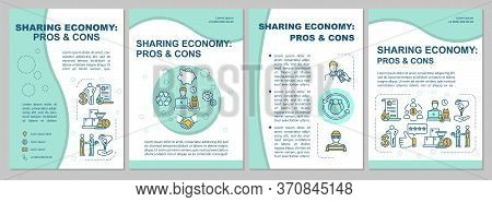 Sharing Economy Pros And Cons Brochure Template. P2p Model Advantages Flyer, Booklet, Leaflet Print,
