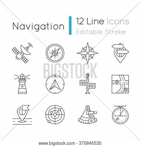 Navigation Pixel Perfect Linear Icons Set. Land, Marine And Aeronautical Navigating Customizable Thi
