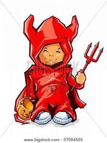 little boy in costume demon for halloween vector illustration isolated on white background