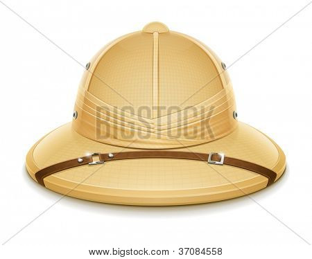 pith helmet hat for safari vector illustration isolated on white background EPS10. Transparent objects and opacity masks used for shadows and lights drawing
