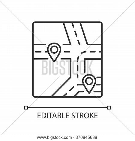 Gps Map Pixel Perfect Linear Icon. Global Positioning System Thin Line Customizable Illustration. Co