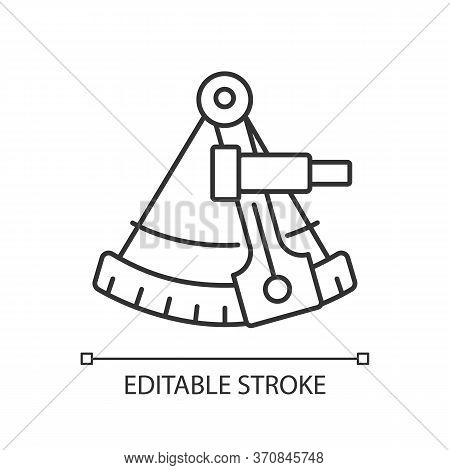 Sextant Pixel Perfect Linear Icon. Celestial Navigation, Geography Thin Line Customizable Illustrati