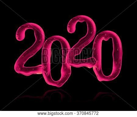 Date Of The New Year 2020 Made Of Pink Viscous Liquid On A Black Background. 3d Illustration