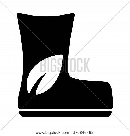 Boots With Leaf Sign. Eco Friendly Production Icon. Recycling Plastic Production. Ecological Polluti