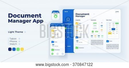 File Management App Screen Vector Adaptive Design Template. Directory For Work. Document Manager App