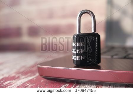 Padlock On Laptop. Internet Data Privacy Information Security Concept