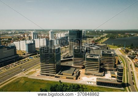 View From The Height Of Pobediteley Avenue In Minsk.new Residential And Business District In Minsk.b