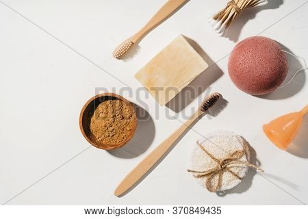 Zero Waste Bathroom Accessories With Bamboo Toothbrushes, Konjac Sponge, Menstrual Cup, Reusable Cot