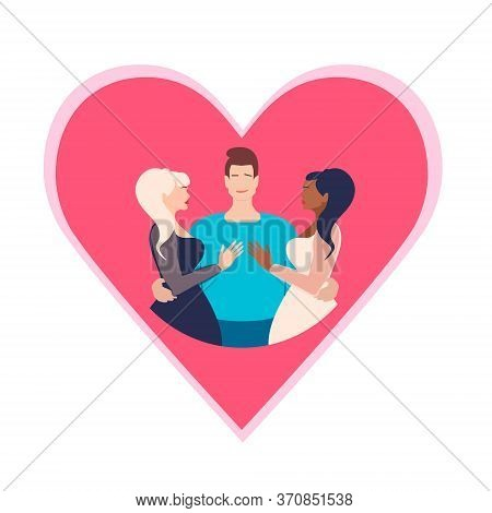 Polyamory In Relationships.open Relationship. Polyamory Conceptual Illustration. A Young Guy Embrace