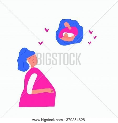 Dreams Of A Pregnant Girl About Her Child. Maternity, Breastfeeding, Women's Health Concept.