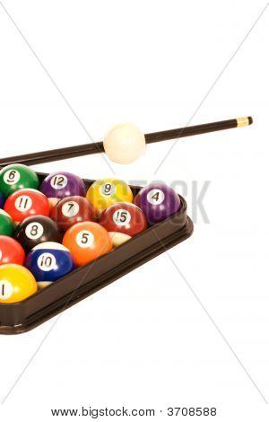 Billiard Balls And A Cue