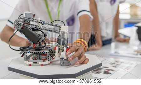 Robotic Lab Class With School Students Blur Background In Ai Learning Or Group Study Workshop In Sci