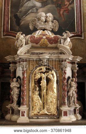 ZAGREB, CROATIA - MAY 16, 2013: Tabernacle on the altar of Saint Ignatius of Loyola in the Church of Saint Catherine of Alexandria in Zagreb, Croatia