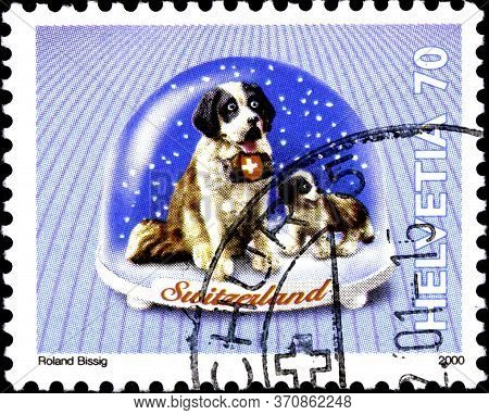 02.09.2020 Divnoe Stavropol Territory Russia The Postage Stamp Switzerland 2000 Snow Domes Saint Ber