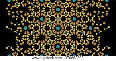Moroccan Rich, Luxury Mosaic Vector Border, Wallpaper, Pattern, Background. Geometric Golden Morocca
