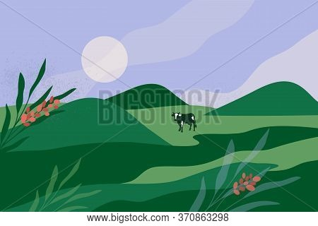 Abstract Panoramic Landscape Of Green Valley, Hills, Flowers And Blue Sky. Outdoor Nature Vector Ill