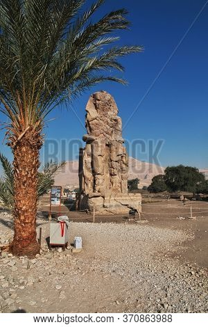 Ancient Colossi Of Memnon In Egypt, Luxor