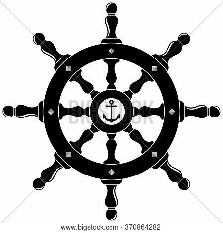 Nautical Steering Wheel In Black As Vector On An Isolated White Background.