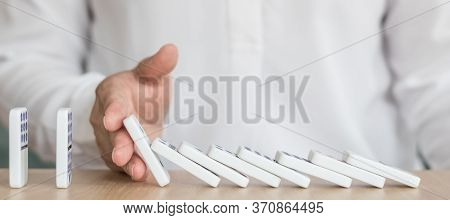 Business Solution Strategy Stoping Domino Effect Concept For Financial Or Investment Protection And