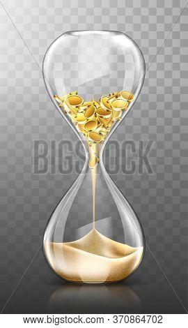 Time Is Money, Hourglass With Falling Gold Coins Turn Into Sand Isolated On Transparent Background.