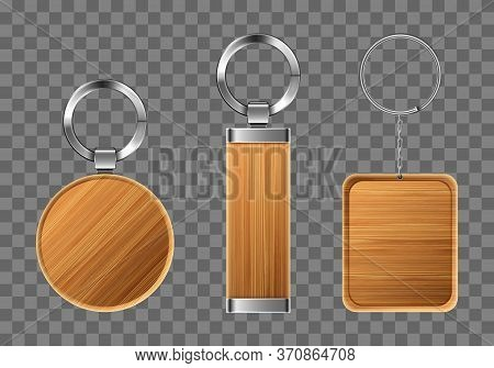 Wooden Keychains, Keyring Holders With Metal Rings. Brown Wood Accessories, Gift Or Souvenir Trinket