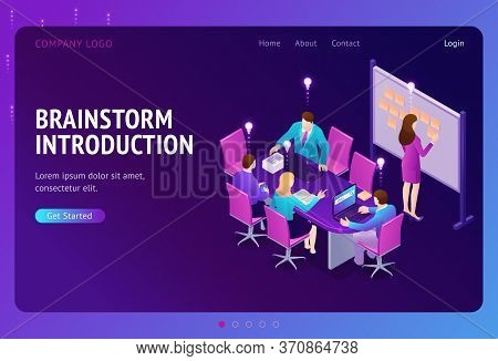 Brainstorm Introduction Isometric Landing Page. Business People Team Develop Creative Startup Projec