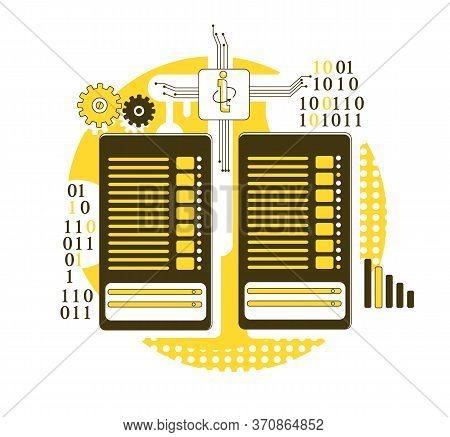 Mainframe Thin Line Concept Vector Illustration. Server Racks 2d Cartoon Composition For Web Design.