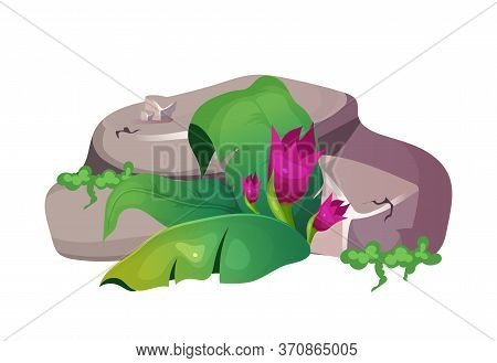Jungle Cartoon Vector Illustration. Mountain Part With Foliage. Ground With Leaves And Flourish. Roc