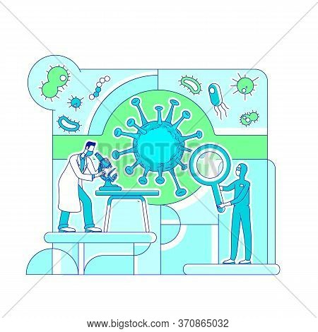 Virology Science Thin Line Concept Vector Illustration. Scientists, Biologists 2d Cartoon Characters
