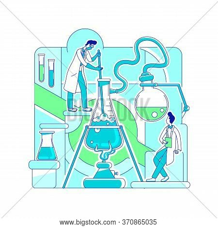 Chemical Reaction Thin Line Concept Vector Illustration. Scientists, Chemists 2d Cartoon Characters