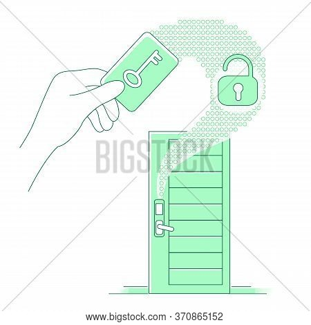 Plastic Keycard And Keyless Lock Thin Line Concept Vector Illustration. Person Using Electronic Key
