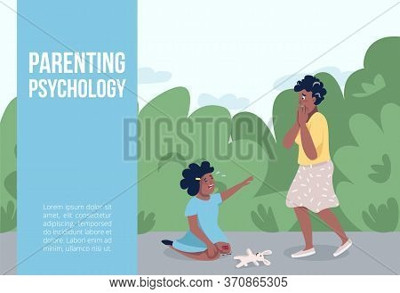 Parenting Psychology Banner Flat Vector Template. Parenthood Stress Management Brochure, Poster Conc