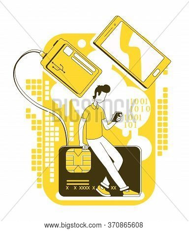 Memory Stick Recovery Thin Line Concept Vector Illustration. User With Smartphone And Smart Card 2d