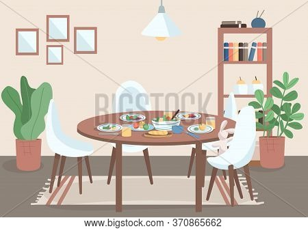 Dining Room Flat Color Vector Illustration. Table With Chair And Food On Plates. Spot For Family Mea