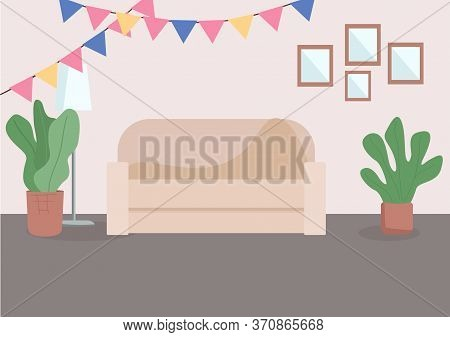 Decorated Living Room Flat Color Vector Illustration. Comfortable Couch Near Wall. Festive Decoratio