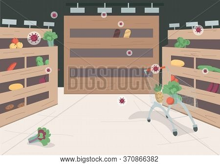 Empty Supermarket Flat Color Vector Illustration. Grocery Store On Quarantine 2d Cartoon Landscape W